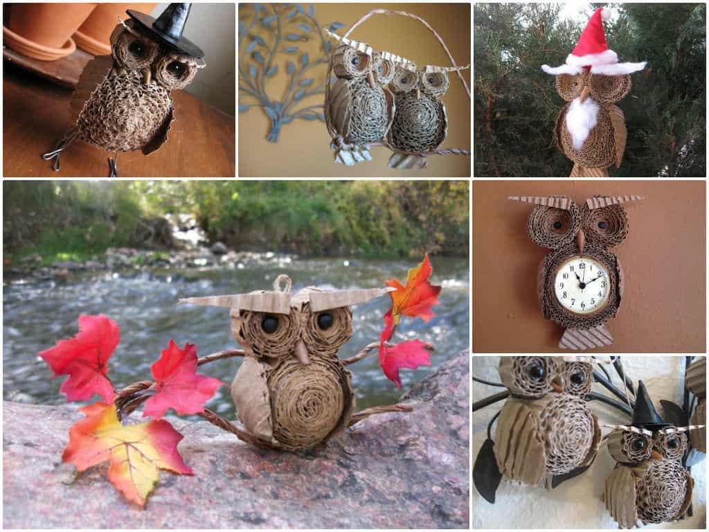 Upcycled Cardboard Owls • Recyclart