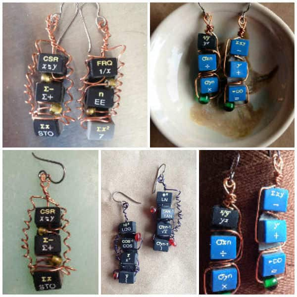 Upcycled Calculator Earrings Recycled Electronic Waste Upcycled Jewelry Ideas