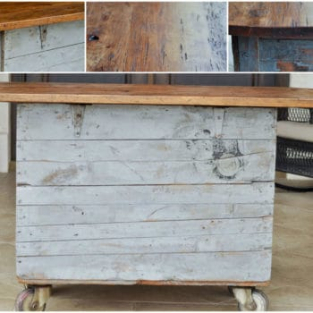 Vintage Tobacco Crate Upcycled into Wheeled Kitchen Island