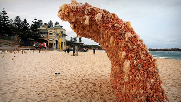 Barbie Dolls Wave Sculpture Recycled Art