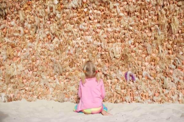 Barbie Dolls Wave Sculpture Recycled Art