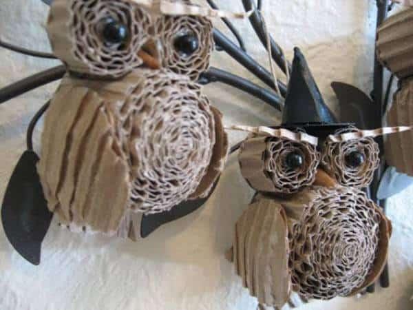 Upcycled Cardboard Owls Recycled Cardboard