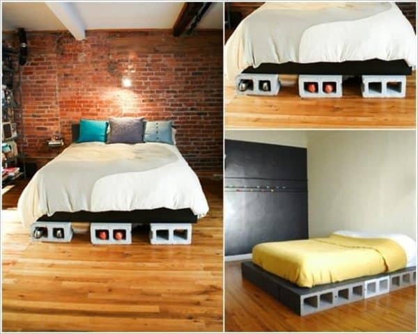 Diy Concrete Block Bedframe Do-It-Yourself Ideas Recycled Furniture