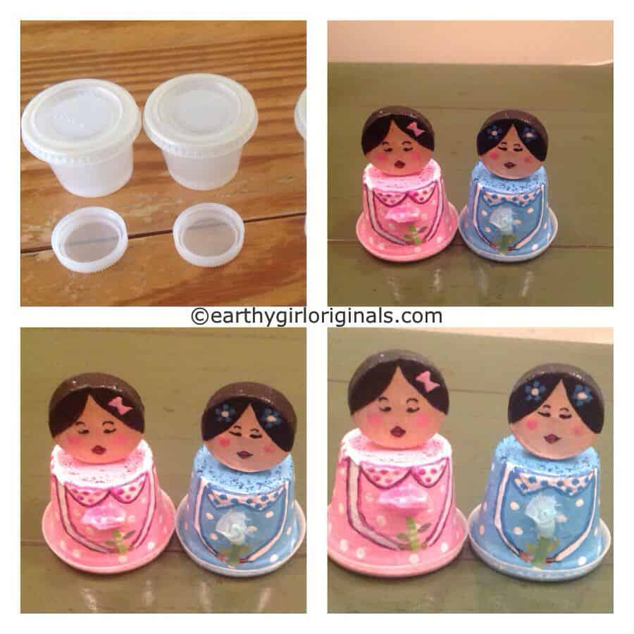 Recycled Condiment Cups and Water Bottle Cap Mini Dolls ...