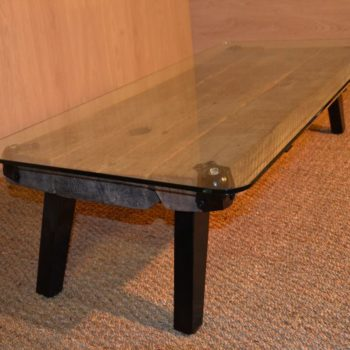 Farm house coffee table recyclart for Table basse bois metal industriel