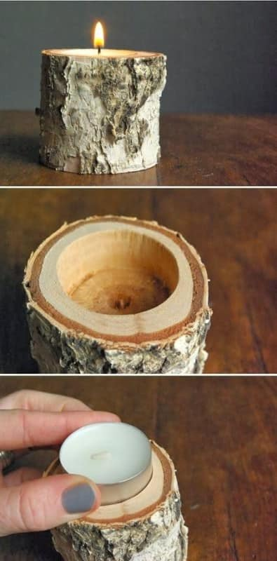 Diy: Candle Holder with Birch Wood Do-It-Yourself Ideas Wood & Organic