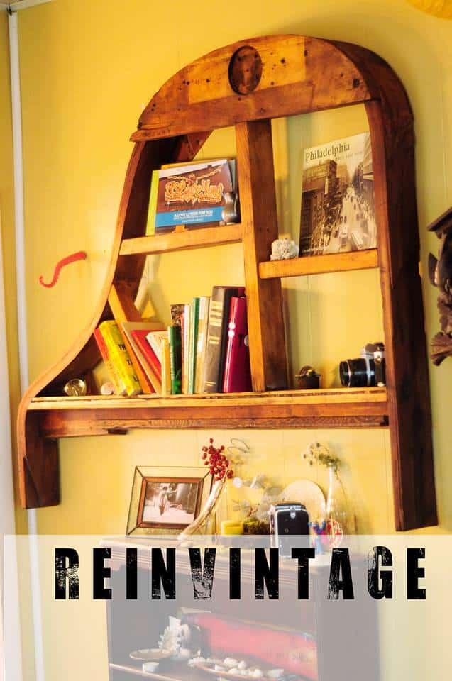 Piano Frame Bookshelf Recyclart