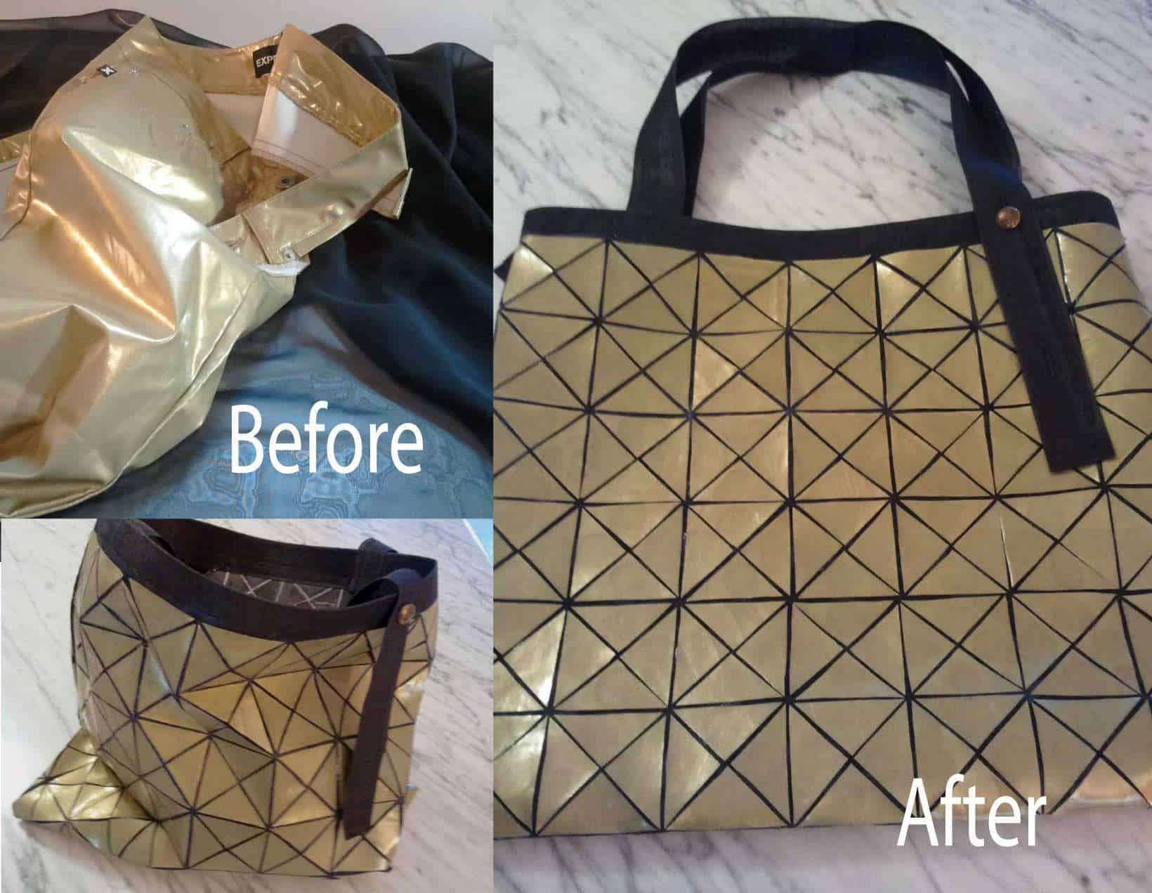 diy upcycled pants bag inspired by issey miyake bao bao bag recyclart