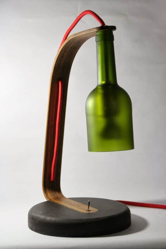 Upcycled Wine Bottle Desk Lamp Recyclart