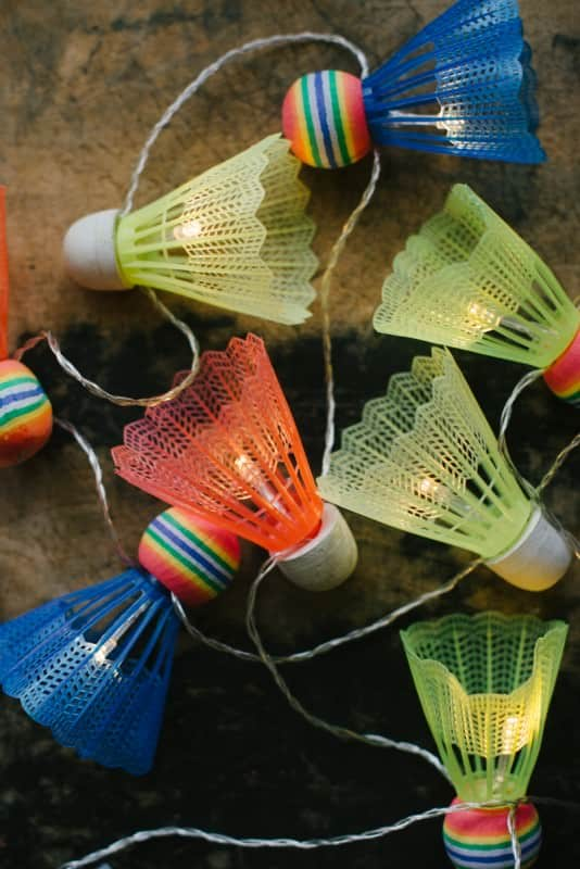 Diy: Badminton Shuttlecock Lights Garland Do-It-Yourself Ideas Recycled Sports Equipment