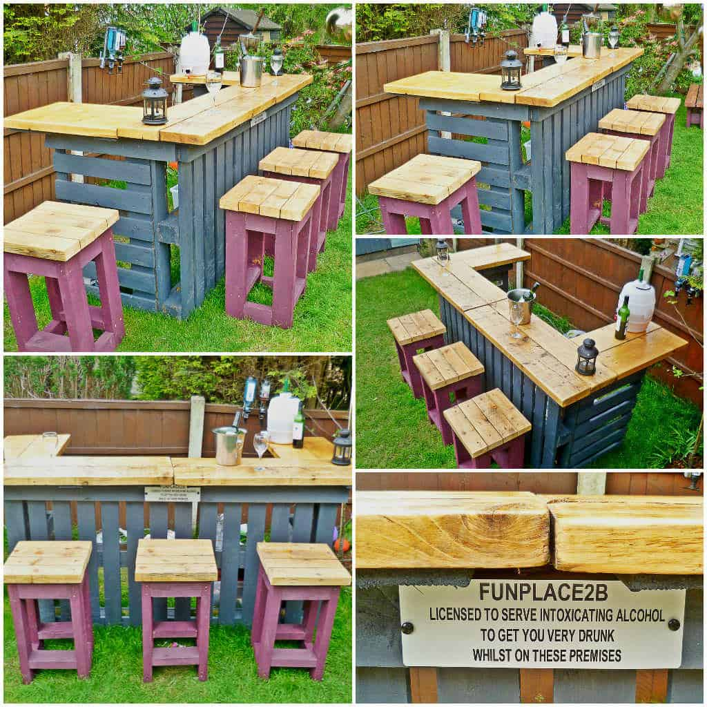 Garden bar made from reclaimed timber and discarded for Arreglar un jardin abandonado