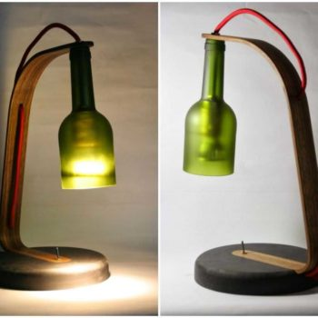 Upcycled Wine Bottle Desk Lamp