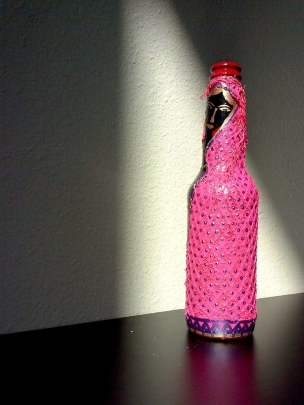 Pink Scarf – Folk Art on an Upcycled Beer Bottle Recycled Art Recycled Glass