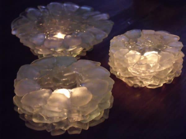 T-lights Holders Made of Sea Glass Lamps & Lights Recycled Glass
