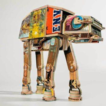 Star Wars AT-AT Walker made from repurposed skateboard decks