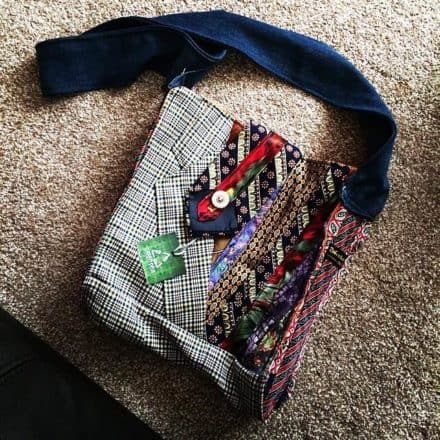 Green Devil: Bag Made from Neckties and Suit Jacket