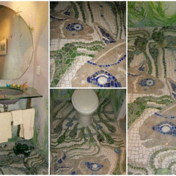 Recycled Powder Room & Creek Glass Floor