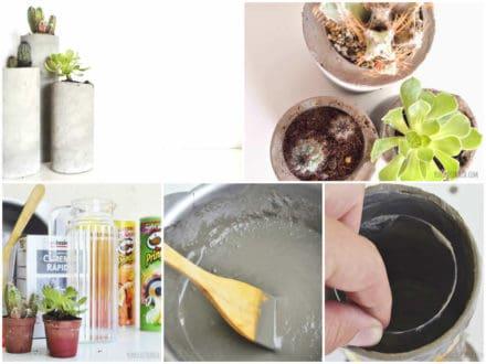 Diy Concrete Planters with Pringles Boxes / Maceteros Con Botes De Pringles
