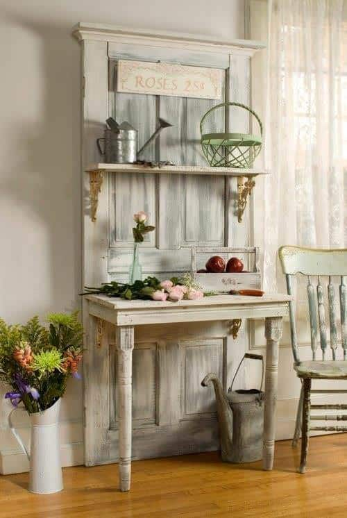 Interior Design Idea: Old Door Upcycled Into Hall Table Recycled Furniture