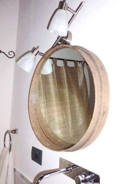 Sieve into Bathroom Mirror