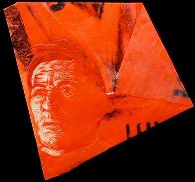 Portraits Made from Discarded Traffic Cones Recycled Art