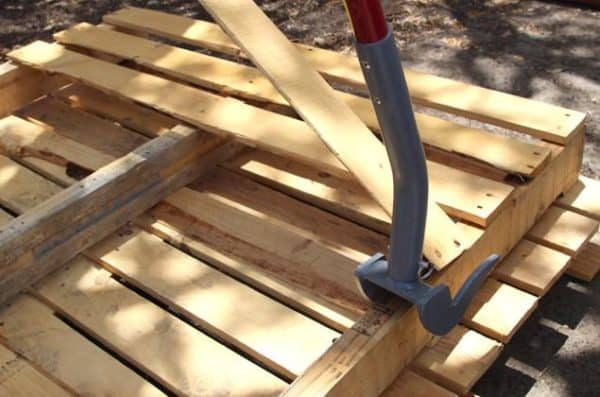 Pallet information includes ways to break them apart, like using a pallet buster tool.