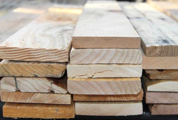 A stack of pallet wood.