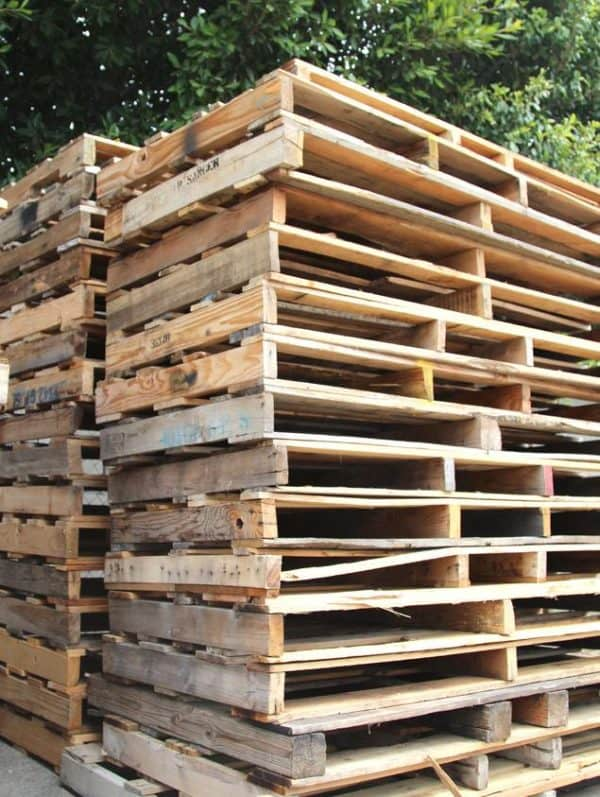 This pallet stack is a lot of potential fun projects!