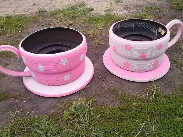 Giant Coffee Cups from Repurposed Tyres Garden Ideas Recycled Rubber