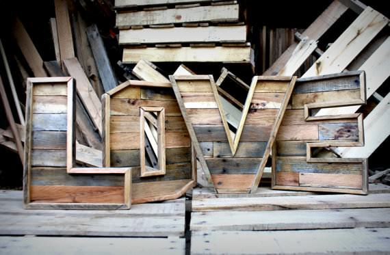 reclaimed wood marquee letters a z recycled pallets