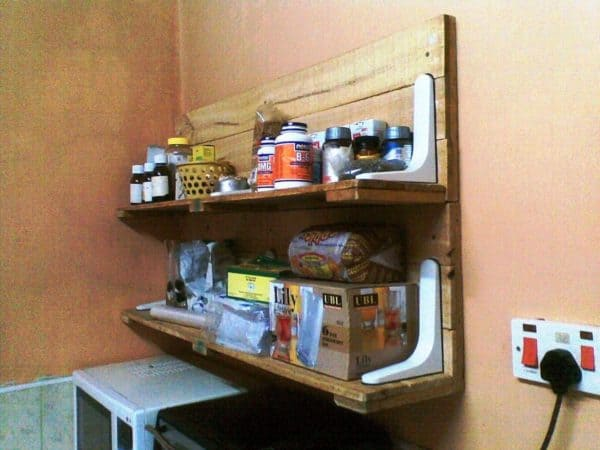 Plastic Bracket And Upcycled Pallet Wood Into Kitchen Shelf Do-It-Yourself Ideas Recycled Pallets