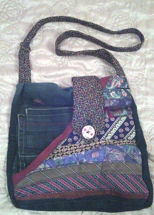 Green Devil: Bag Made from Neckties and Jeans Accessories Clothing
