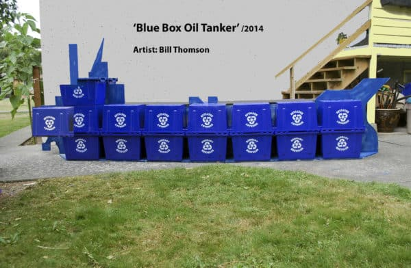 Blue Box Oil Tanker Recycled Art