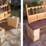 Garden Bench From Repurposed Headboard & Blocks
