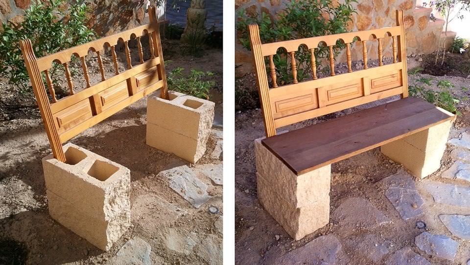 Garden bench from repurposed headboard blocks recyclart for Bancos de cemento para jardin