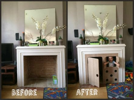 Turn Your Fireplace into a Hut for Kids