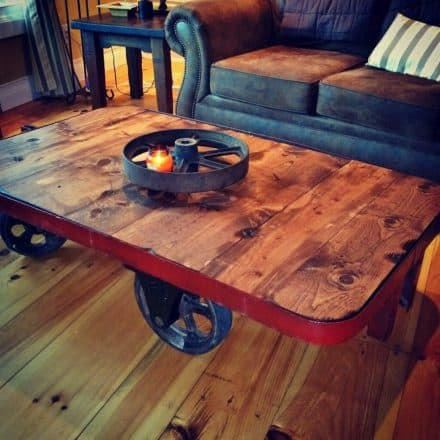 Upcycled Metal Nutting Factory Cart