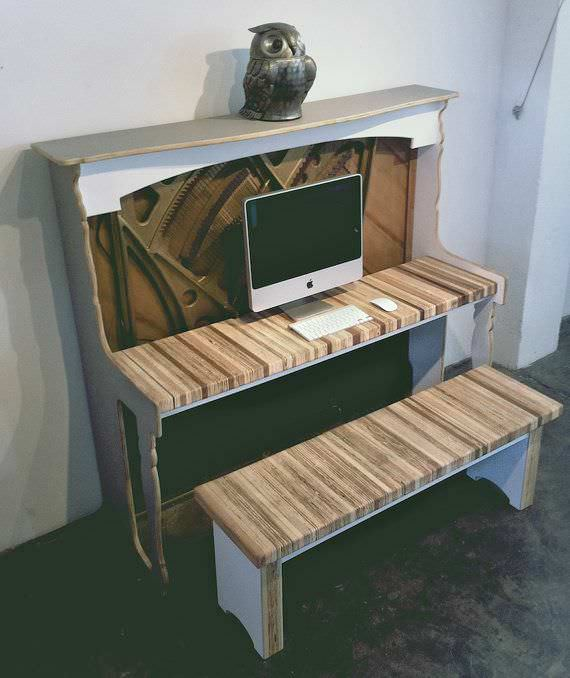 Salvaged Piano Desk Recycled Electronic Waste Recycled Furniture