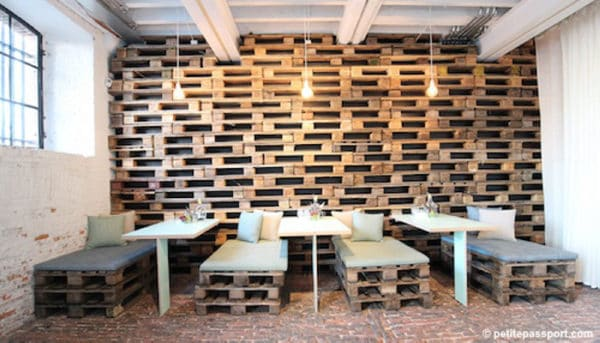 Pallet Wall for This Restaurant in Antwerp