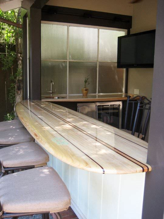 Surfboard Into Original Bar Recycled Sports Equipment
