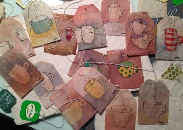Painted Tea Bags Recycled Art