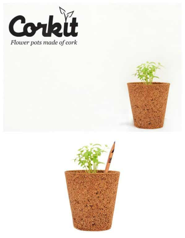 Recycled cork flower pots recyclart for Flower pot made by waste material