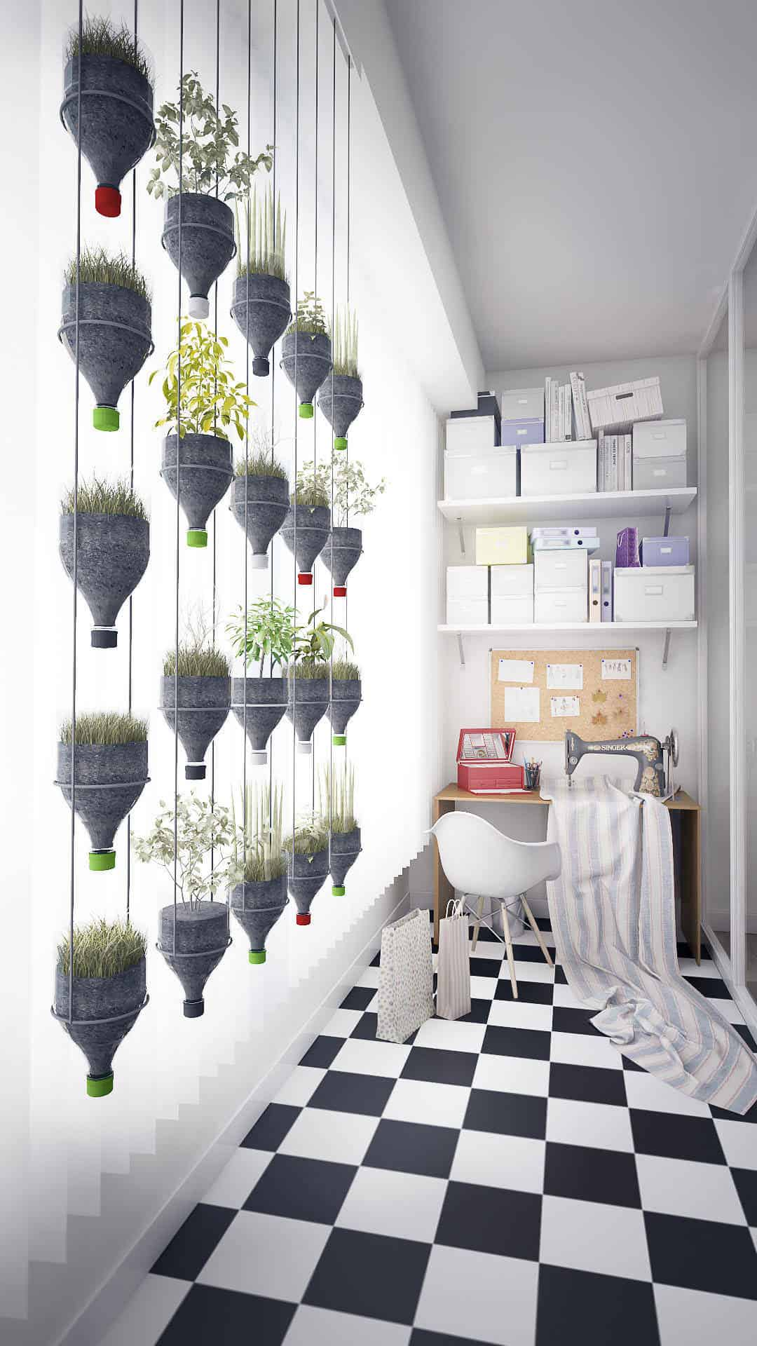Modern Hanging Plants Wall from Recycled Plastic Bottles • Recyclart