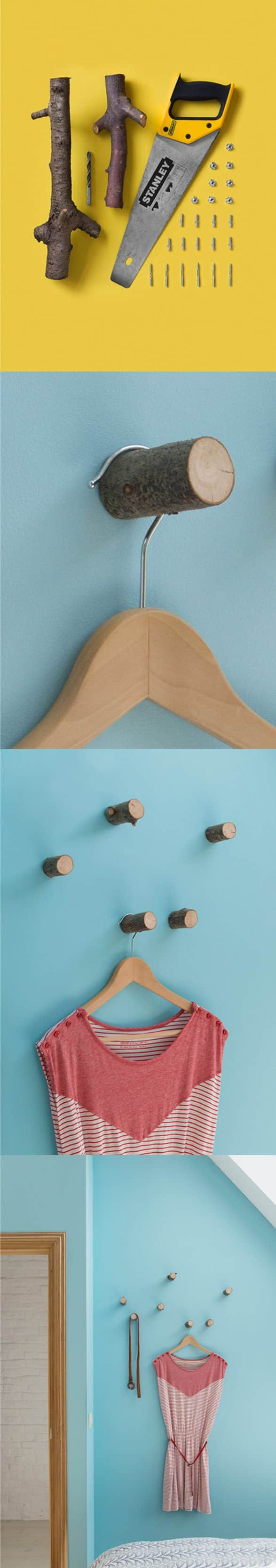 Diy: Hangers from Small Wood Logs Accessories Do-It-Yourself Ideas
