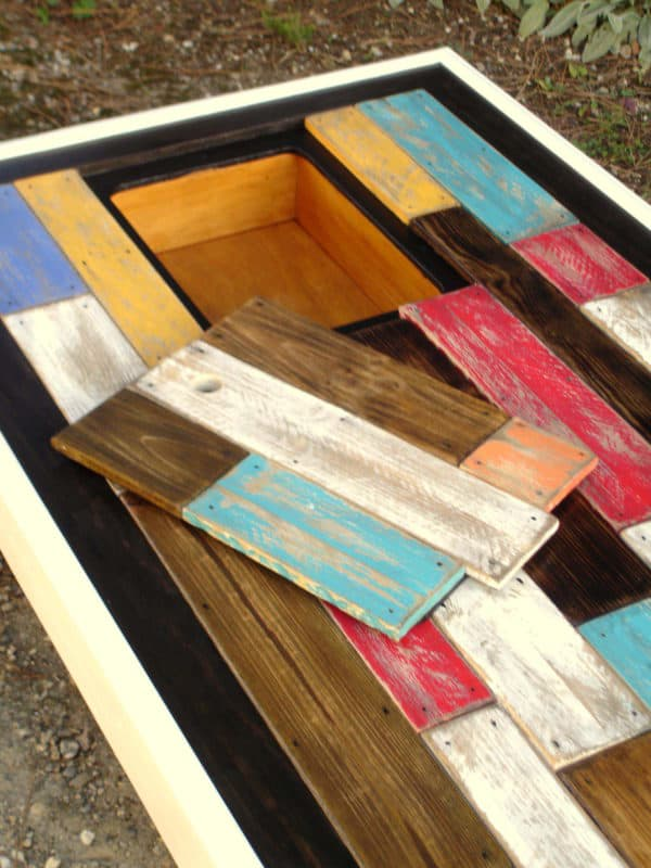 Table Basse Assemblage Chromatique De Bois De Palettes / Colored Pallets Coffee Table Recycled Pallets