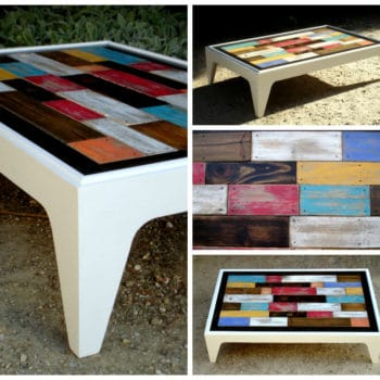 Table basse assemblage chromatique de bois de palettes / Colored Pallets Coffee Table