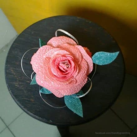 Fascinator Made From Melted Recycled Pastic Bags