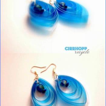 Waterclear earrings made of plastic bottle