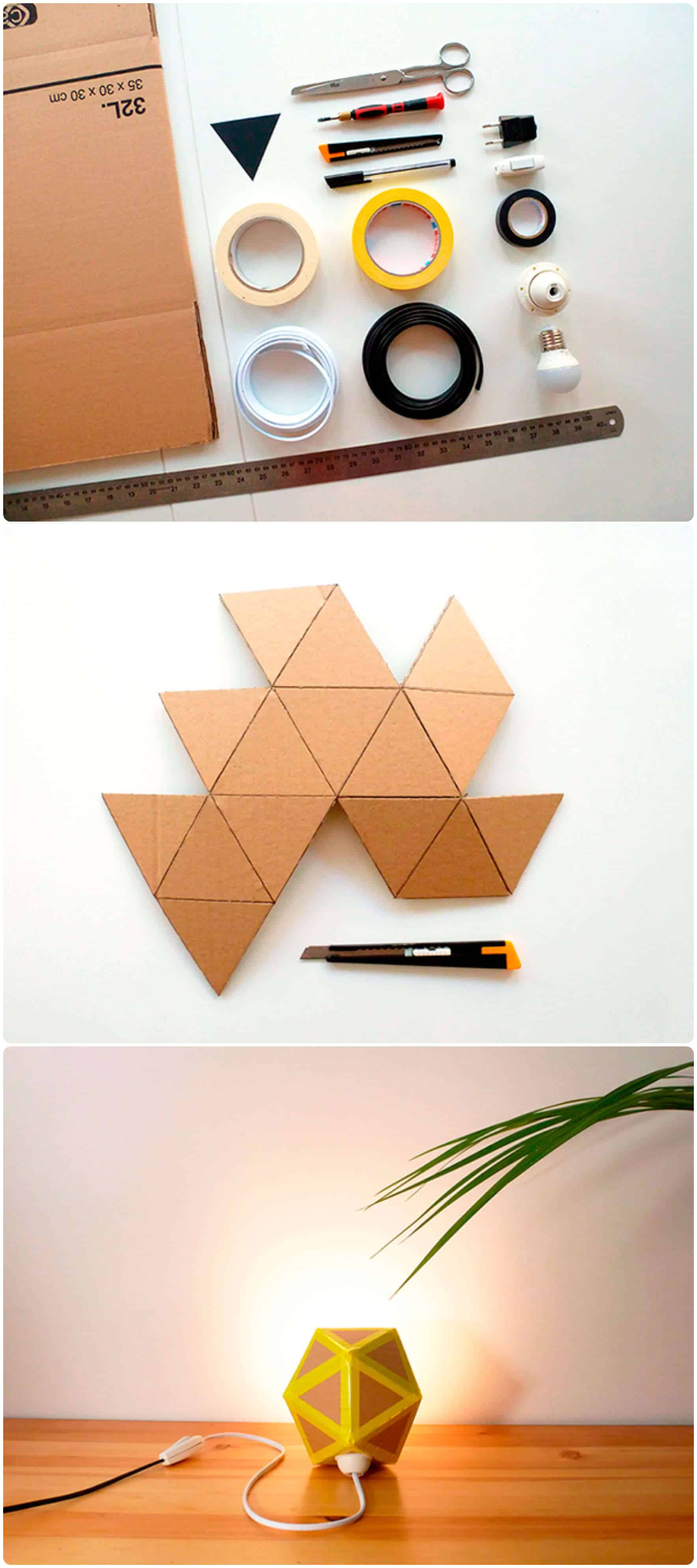 recycled cardboard origami lamp � recyclart