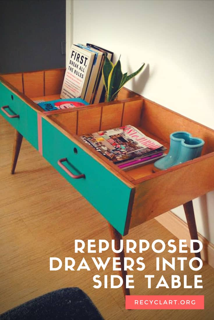 Repurpose Two Drawers Into A Vintage Side Table • Recyclart